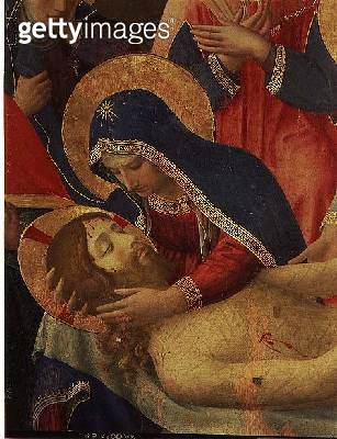 <b>Title</b> : Deposition from the Cross, detail of the Virgin Mary, 1436 (tempera & gold on panel)Additional InfoLamentaion of the Dead Christ<br><b>Medium</b> : tempera and gold on panel<br><b>Location</b> : Museo di San Marco dell'Angelico, Florence, I - gettyimageskorea