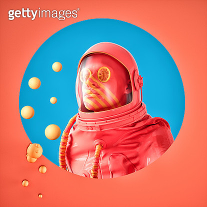 This image is a surrealistic abstraction created in 3d graphics.This artwork depicts a glamorous astronaut that seems to have gone down the cover of Glossy magazine. - gettyimageskorea