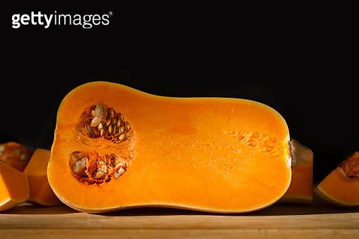 Halved orange pumpkin - gettyimageskorea