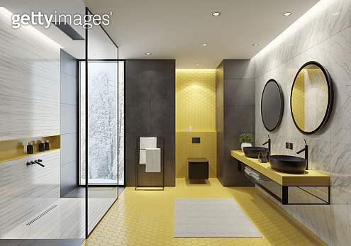 Contemporary bathroom with yellow honeycomb tiles - gettyimageskorea