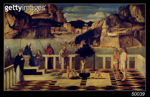 <b>Title</b> : Sacred Allegory, c.1487 (oil on panel)<br><b>Medium</b> : oil on panel<br><b>Location</b> : Galleria degli Uffizi, Florence, Italy<br> - gettyimageskorea