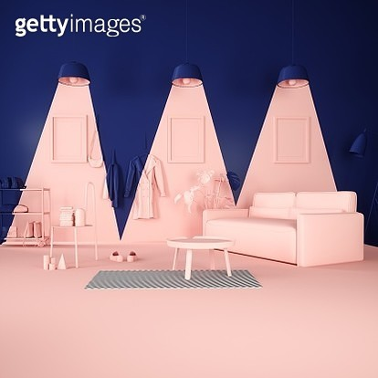 This is installation  on the theme of light phenomena in the interior, what made in only two colors – dark blue and light pink. This artwork is a surrealistic abstraction created in 3d graphics. - gettyimageskorea