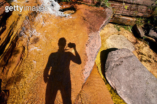 Self portrait and shadows at rock - gettyimageskorea
