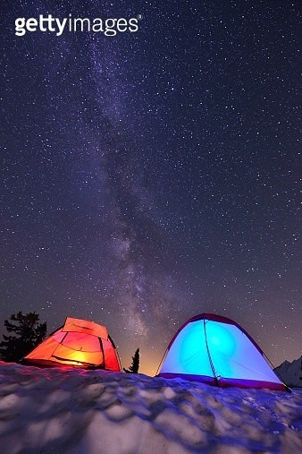 Tents and Milky Way - gettyimageskorea