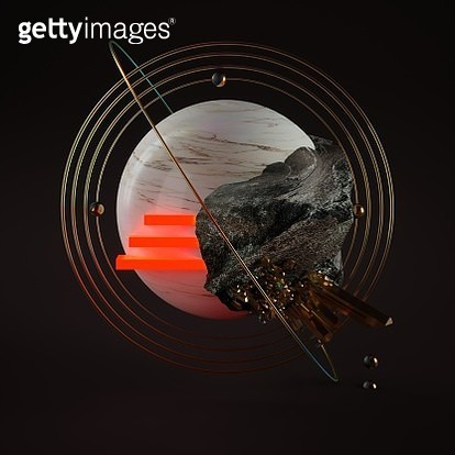 Universe – an image on the theme of abstract interpretation of the cosmic planet. Rock like an earth mass that climbs over the surface of a marble-glossy covering of a planet that overgrown with crystals. Land resources (which may not be known to us) are  - gettyimageskorea