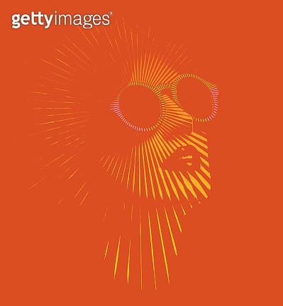 Retro woman's face with vector sunbeams - gettyimageskorea