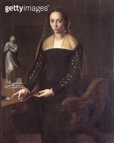 <b>Title</b> : Portrait of a Gentlewoman, 1559 (oil on panel)<br><b>Medium</b> : oil on panel<br><b>Location</b> : Galleria degli Uffizi, Florence, Italy<br> - gettyimageskorea