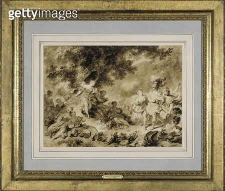<b>Title</b> : Rinaldo in the gardens of Armida, 1761-1764 (brush & brown ink over black chalk on paper) (see also 159345)Additional Infowritte<br><b>Medium</b> : brush and brown ink over black chalk on paper<br><b>Location</b> : Art Gallery of New South  - gettyimageskorea