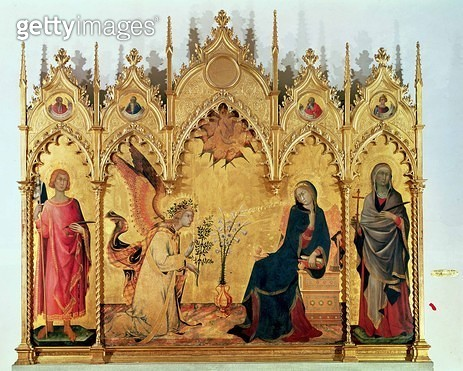 <b>Title</b> : The Annunciation with St. Margaret and St. Asano, 1333 (tempera on panel)<br><b>Medium</b> : tempera on panel<br><b>Location</b> : Galleria degli Uffizi, Florence, Italy<br> - gettyimageskorea