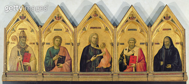 <b>Title</b> : The Badia Altarpiece with Madonna and Saints, c.1301 (tempera on panel)<br><b>Medium</b> : tempera on panel<br><b>Location</b> : Galleria degli Uffizi, Florence, Italy<br> - gettyimageskorea