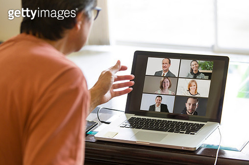 COVID-19 Shelter in Place and Social Distancing in effect, Virtual Business Working Group Working through Live Streaming, video Conferencing Virtual Office - gettyimageskorea