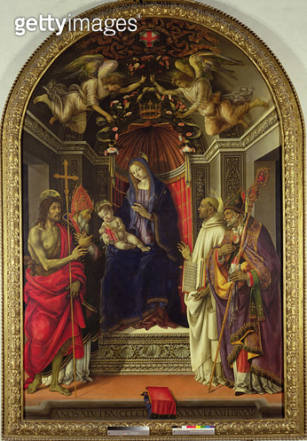 <b>Title</b> : Madonna and Child with Saints, 1486 (tempera on panel)Additional InfoLa Vierge a l'Enfant et les Saints Jean-Baptiste, Victor, B<br><b>Medium</b> : tempera on panel<br><b>Location</b> : Galleria degli Uffizi, Florence, Italy<br> - gettyimageskorea