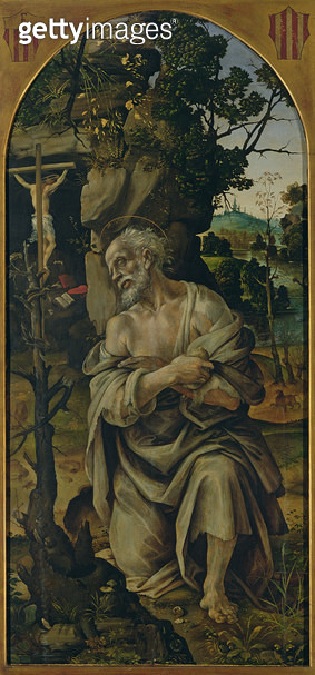 <b>Title</b> : St. Jerome in Penitence, c.1480 (oil on panel)<br><b>Medium</b> : oil on panel<br><b>Location</b> : Galleria degli Uffizi, Florence, Italy<br> - gettyimageskorea