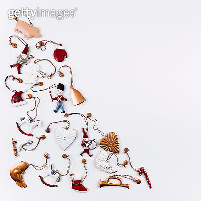 Christmas decoration background. Flat lay, top view - gettyimageskorea