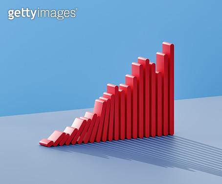 Bars of a bar graph falling like dominoes - gettyimageskorea