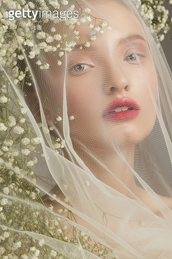 Portrait of girl with white flowers and veil - gettyimageskorea