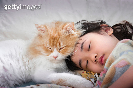 Close-Up Of Cute Girl Sleeping On Bed At Home - gettyimageskorea