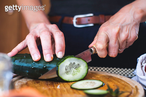 Salad Preparation: Slicing Cucumber 2 - gettyimageskorea