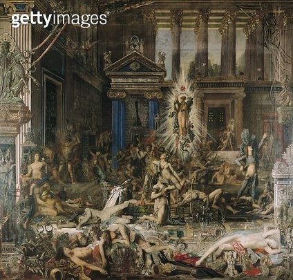 <b>Title</b> : Les Pretendants, 1862-98 (oil on canvas)<br><b>Medium</b> : oil on canvas<br><b>Location</b> : Musee Gustave Moreau, Paris, France<br> - gettyimageskorea