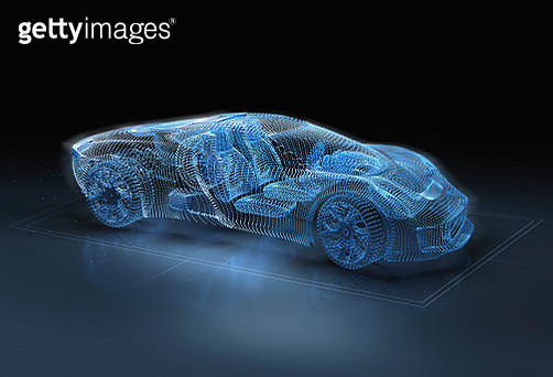 Computer generated image of blue, luxury sports car - gettyimageskorea