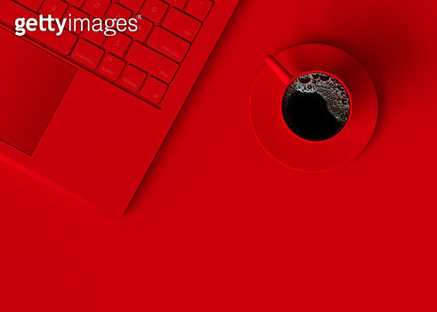 High Angle View Of Coffee With Laptop On Red Background - gettyimageskorea