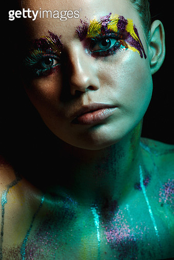 Young woman with fluorescent makeup,Dobrovelychkivka,Ukraine - gettyimageskorea