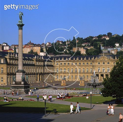 <b>Title</b> : View of the Neues Schloss, designed by Leopold Retti, Philippe de la Guepiere, Reinhard Ferdinand Heinrich Fischer and Nikolaus<br><b>Medium</b> : <br><b>Location</b> : Stuttgart, Baden-Wurttemberg, Germany<br> - gettyimageskorea