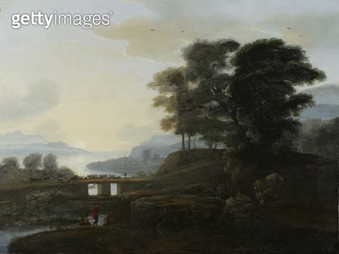 <b>Title</b> : Classical Landscape (oil on canvas)Additional Infowith the three Marys at the tomb, cattle and goats crossing a bridge, with her<br><b>Medium</b> : oil on canvas<br><b>Location</b> : The Trustees of the Weston Park Foundation, UK<br> - gettyimageskorea