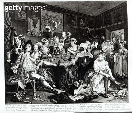 <b>Title</b> : The Orgy, third scene from 'A Rake's Progress', 1733-98 (engraving)Additional Infoscene in the Rose Tavern near Covent Garden;<br><b>Medium</b> : engraving<br><b>Location</b> : The Israel Museum, Jerusalem, Israel<br> - gettyimageskorea