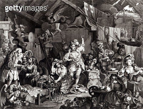 <b>Title</b> : Strolling Actresses Dressing in a Barn, 1738 (engraving)Additional Infopreparing for performance of 'The Devil to Pay' at the Ge<br><b>Medium</b> : engraving<br><b>Location</b> : The Israel Museum, Jerusalem, Israel<br> - gettyimageskorea