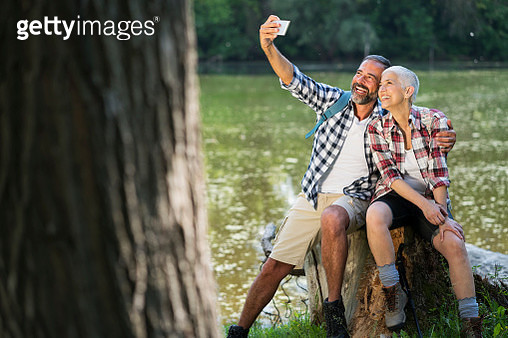 Mature couple hiking - gettyimageskorea