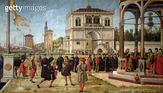 <b>Title</b> : The Story of St. Ursula, the Repatriation of the English Ambassadors, 1490-96 (oil on canvas)<br><b>Medium</b> : oil on canvas<br><b>Location</b> : Galleria dell' Accademia, Venice, Italy<br> - gettyimageskorea