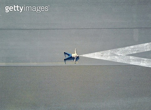 High Angle View Of Man On Road - gettyimageskorea