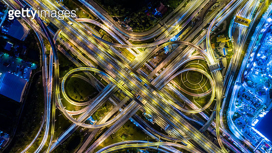 Aerial view of a Unique City Roads and Interchanges, Bangkok Expressway top view, Top view over the highway, expressway and motorway at night Aerial view from drone - gettyimageskorea