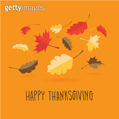 Happy Thanksgiving hand lettered greeting design with fall leaves - gettyimageskorea