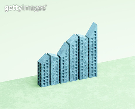 Buildings forming a rising bar graph - gettyimageskorea