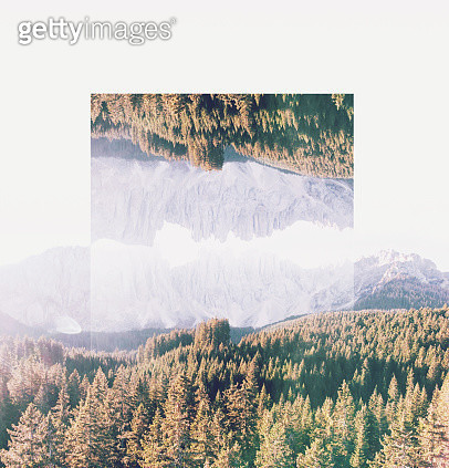 Calm and relax picture manipulation of landscape with geometric reflection. - gettyimageskorea