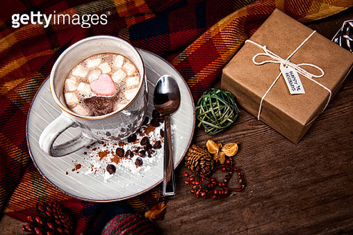 Christmas Hot Chocolate on a retro wood background - gettyimageskorea