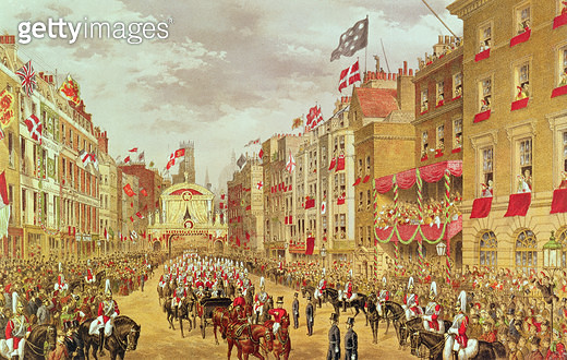 <b>Title</b> : Wedding Procession of Edward, Prince of Wales and Princess Alexandra Driving through the City at Temple Bar, 7th March 1863, ill<br><b>Medium</b> : chromolithograph<br><b>Location</b> : Private Collection<br> - gettyimageskorea
