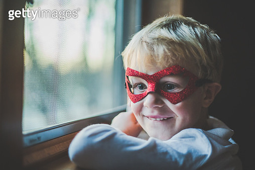 Super Boy By Window - gettyimageskorea