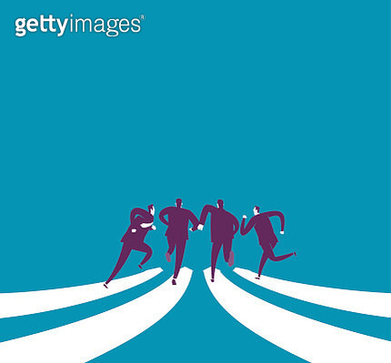 Abstract image of businessmen running together on arrows - gettyimageskorea