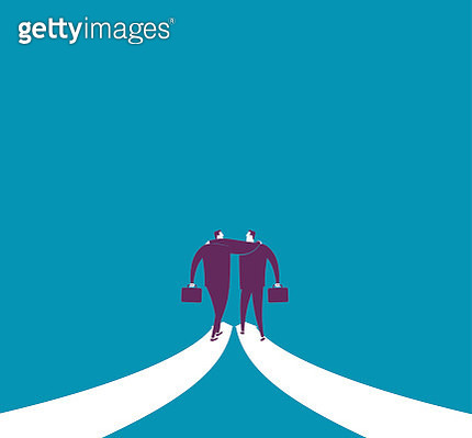 Abstract image of businessman walking together on arrows - gettyimageskorea