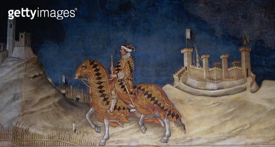<b>Title</b> : Commemoration of Guidoriccio da Fogliano at the Siege of Montemassi, from the Sala del Mappamondo, 1328 (fresco) (detail)<br><b>Medium</b> : <br><b>Location</b> : Palazzo Pubblico, Siena, Italy<br> - gettyimageskorea