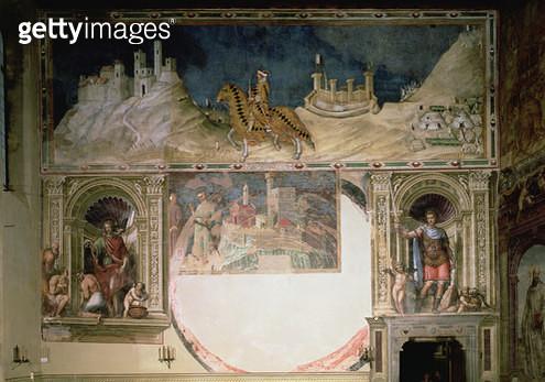 <b>Title</b> : Guidoriccio da Fogliano (fresco)<br><b>Medium</b> : <br><b>Location</b> : Palazzo Communale, Siena, Italy<br> - gettyimageskorea