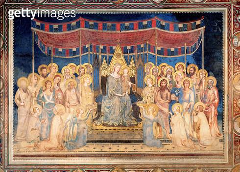 <b>Title</b> : Maesta, 1315 (fresco)<br><b>Medium</b> : <br><b>Location</b> : Palazzo Pubblico, Siena, Italy<br> - gettyimageskorea