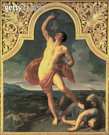 <b>Title</b> : Samson Victorious (oil on canvas) (see also 199189)Additional Infodrinking water from the jawbone of a donkey;<br><b>Medium</b> : <br><b>Location</b> : Pinacoteca Nazionale, Bologna, Italy<br> - gettyimageskorea