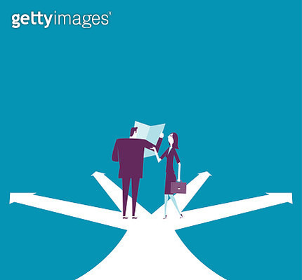 Businessman and businesswoman are discussing on the intersect - gettyimageskorea