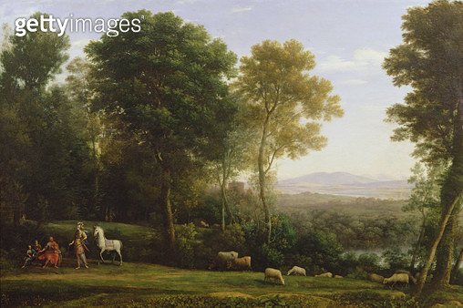 <b>Title</b> : Landscape with Erminia in Discourse with the Old Man and his Sons (oil on canvas)Additional Infodisguised in armour belonging to<br><b>Medium</b> : oil on canvas<br><b>Location</b> : Collection of the Earl of Leicester, Holkham Hall, Norfol - gettyimageskorea