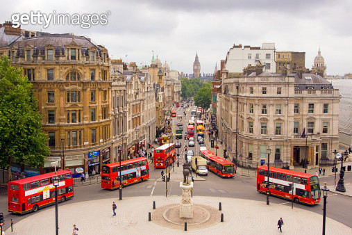 View down Whitehall of buses and Big Ben - gettyimageskorea