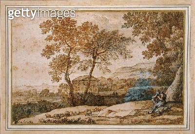 <b>Title</b> : Landscape with a shepherd and his dog (pen and ink on paper)<br><b>Medium</b> : pen and ink on paper<br><b>Location</b> : Collection of the Earl of Leicester, Holkham Hall, Norfolk<br> - gettyimageskorea